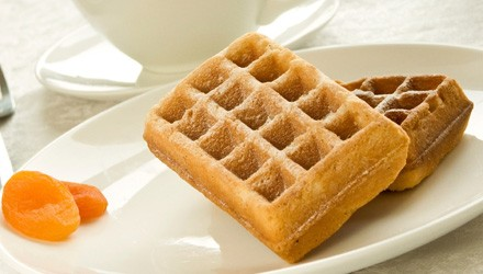 Apricot, oat, and wheat germ waffles