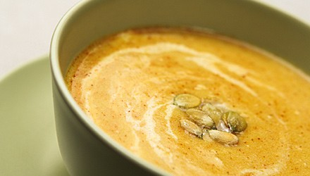 Roasted squash bisque with pistachios