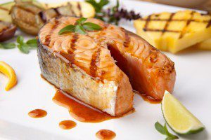 Grilled Salmon Fillet with Chili-Infused Blackberry Sauce