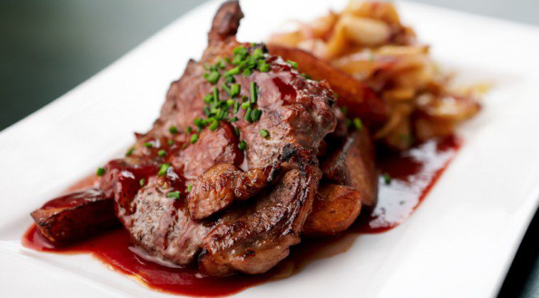 Grilled Pork Chops with Cherry Sauce