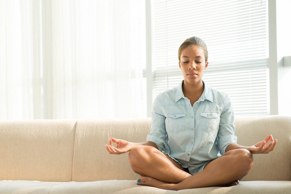 Diabetic woman using relaxing techniques for stress.