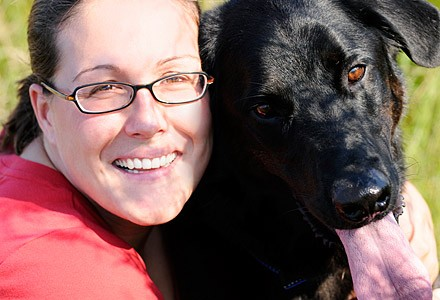 Woman with diabetic alert dog