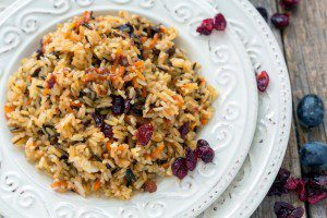 Brown Rice with Cranberries and Walnuts