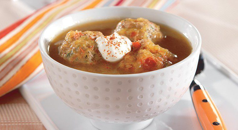 Acorn Squash Soup with Chicken and Red Pepper Meatballs