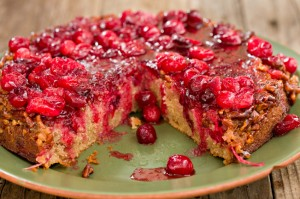 Pecan-cranberry upside-down cake