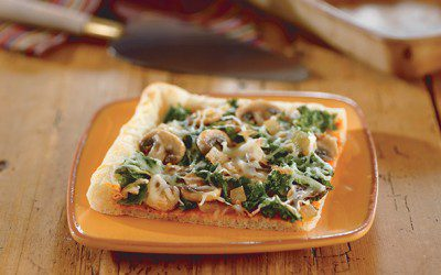 Kale, Mushroom, and Caramelized Onion Pizza