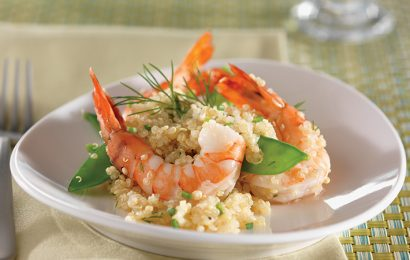 Shrimp, Snow Pea, and Quinoa Toss