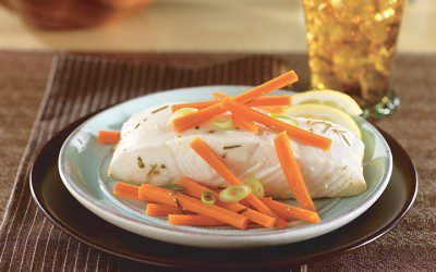 Lemon-Poached Halibut with Carrots