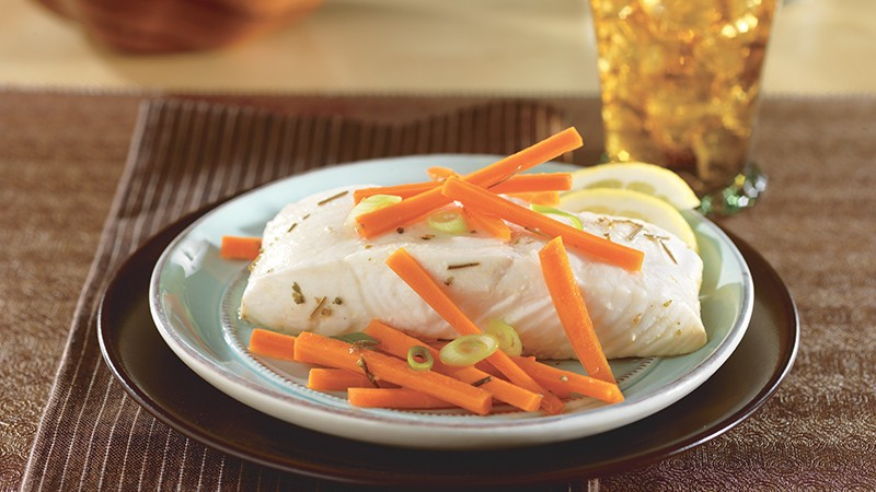 Home > Recipes > Main Dishes > Lemon-Poached Halibut with Carrots