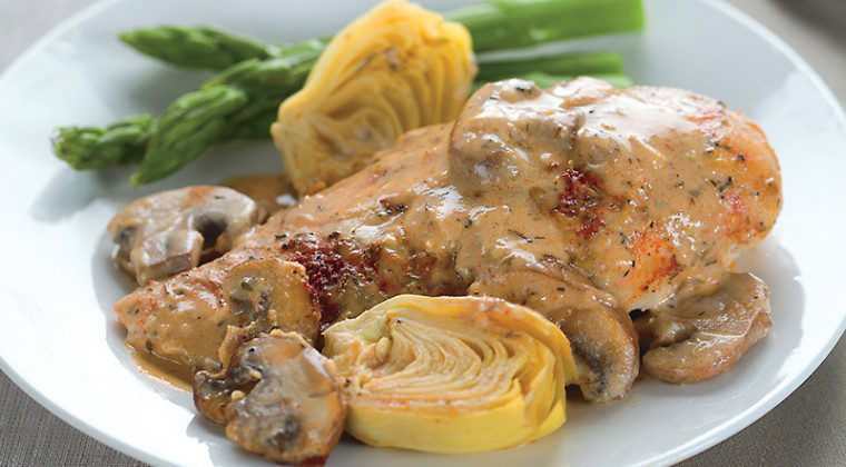 Creamy Baked Chicken with Artichokes and Mushrooms