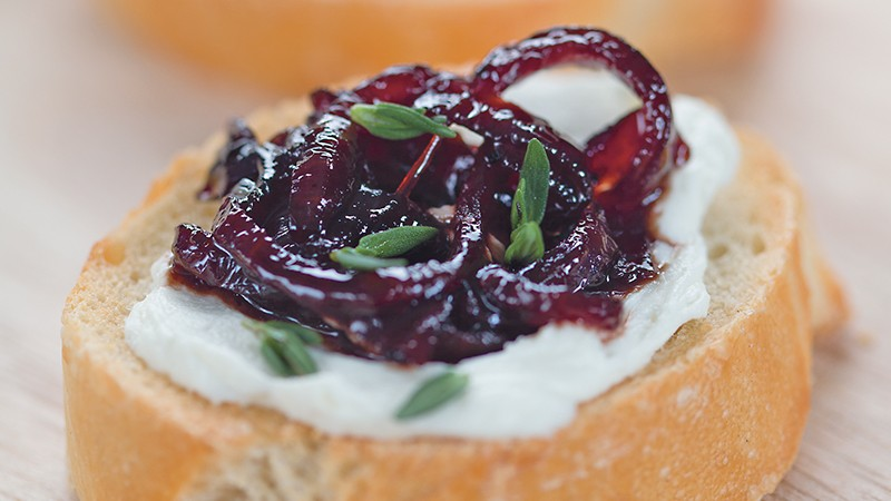 Goat Cheese Crostinis with Sweet Onion Jam
