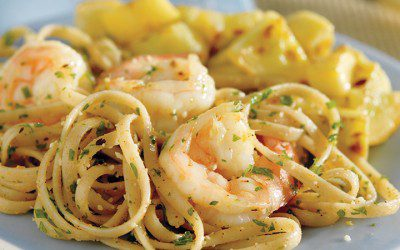 Fresh Garlic Shrimp Linguine
