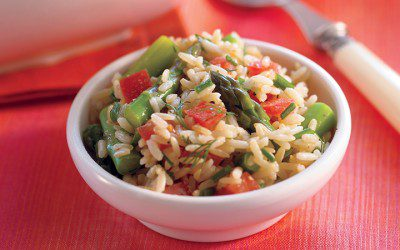 Brown Rice, Asparagus, and Tomato Salad