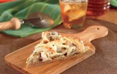 Chicken, Mushroom, and Asiago Cheese Pizza