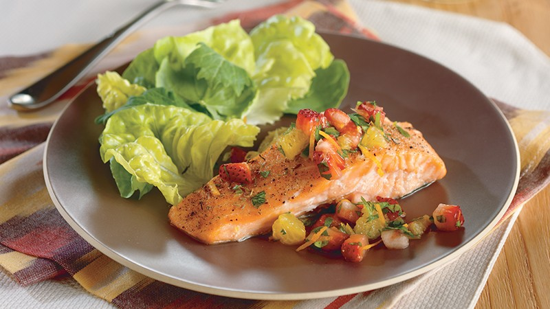 Roasted Salmon with Strawberry-Orange Salsa