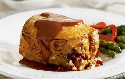 Cherry & Mushroom Stuffed Pork Chops