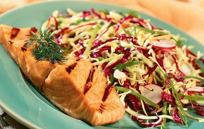 Teriyaki Salmon with Asian Slaw
