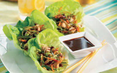 Asian Lettuce Wraps with Hoisin Dipping Sauce