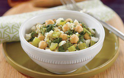 Brown Rice With Chickpeas, Spinach, and Feta