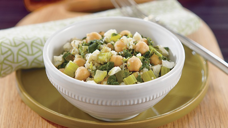 Brown Rice With Chickpeas, Spinach and Feta