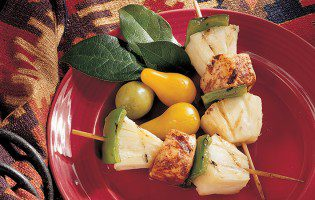 Grilled Spiced Halibut, Pineapple, and Pepper Skewers