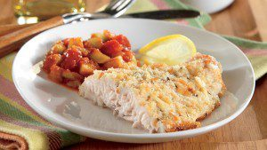 Baked Catfish with Peach and Cucumber Salsa