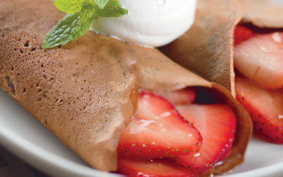 Chocolate Crêpes with Strawberry Filling