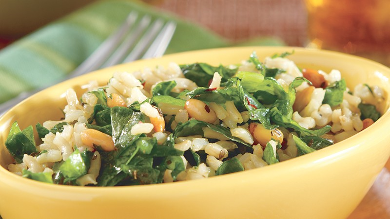 Spinach-Pine Nut Whole Grain Pilaf