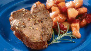 Lamb Chops with Cranberry-Pear Chutney