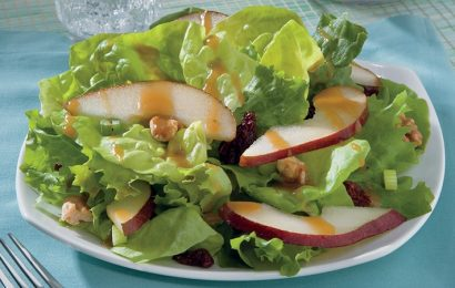 Greens and Pear with Maple-Mustard Dressing