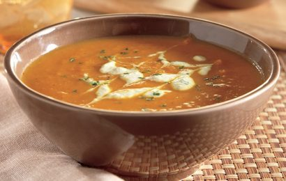 Spicy Pumpkin Soup with Green Chile Swirl