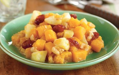 Butternut Squash with Apples, Cranberries, and Walnuts