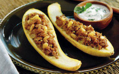 Middle Eastern Stuffed Squash with Minty Yogurt