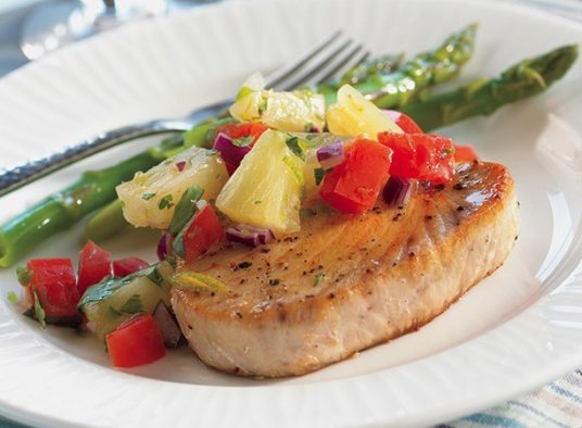 Tuna Steaks with Pineapple and Tomato Salsa