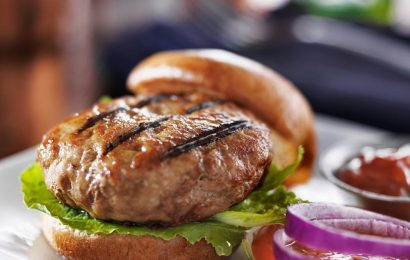 Turkey Burgers with Grilled Onions and Blue Cheese