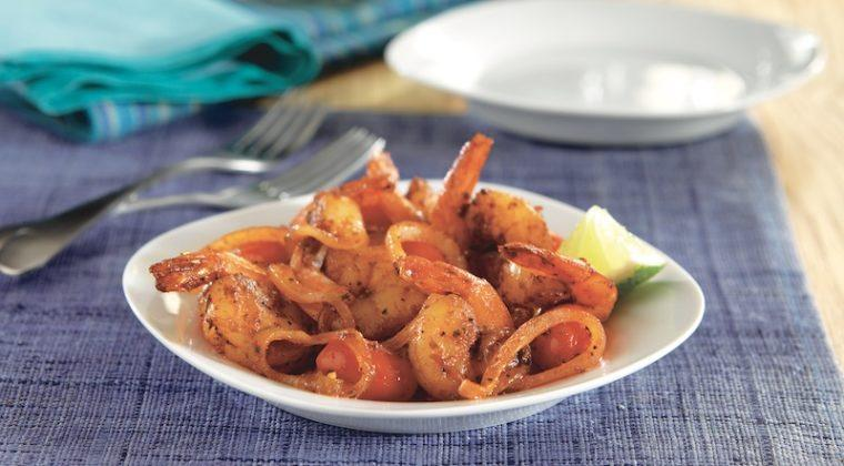 Blackened Shrimp with Tomatoes and Red Onion