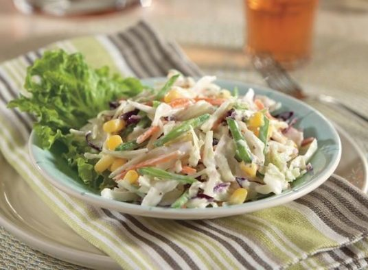 Coleslaw With Snow Peas and Corn