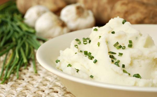 Diabetic Thanksgiving Side Dish - Garlic Chive Mashed Potatoes