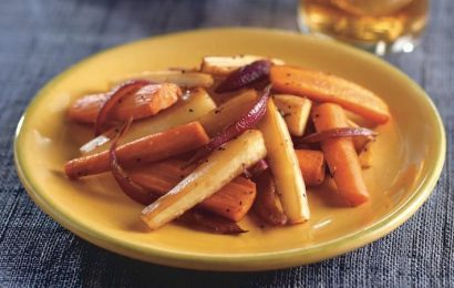 Roasted Parsnips, Carrots, and Red Onion