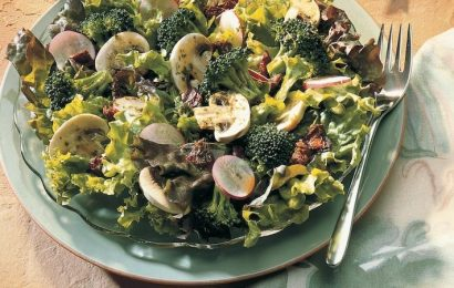 Greens and Broccoli Salad with Peppy Vinaigrette