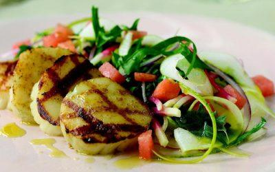 Grilled Sea Scallops with a Watermelon Three-Way & Dandelion Greens