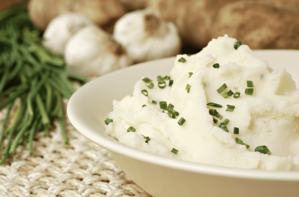 Diabetic Christmas Dinner - Garlic Chive Mashed Potatoes