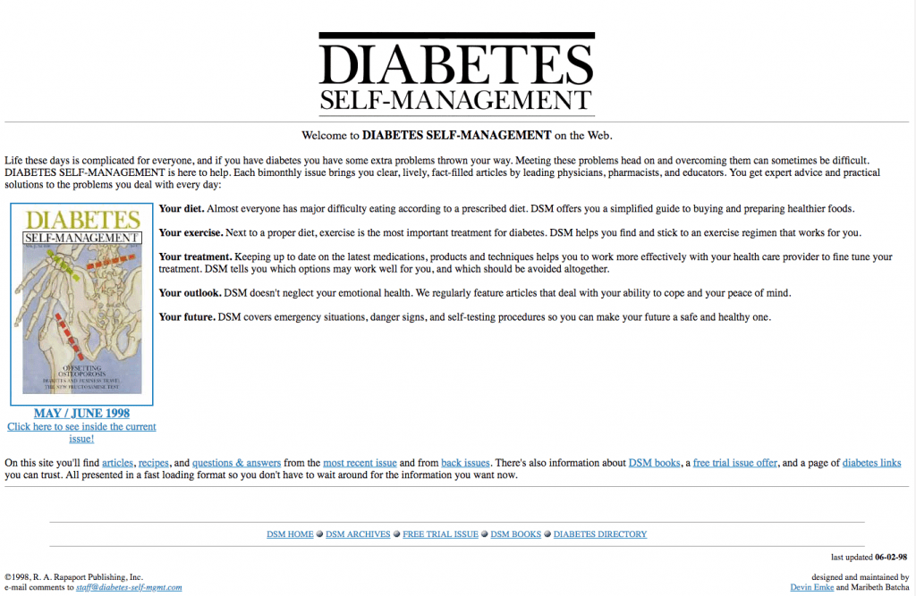 The early Diabetes Self-Management website