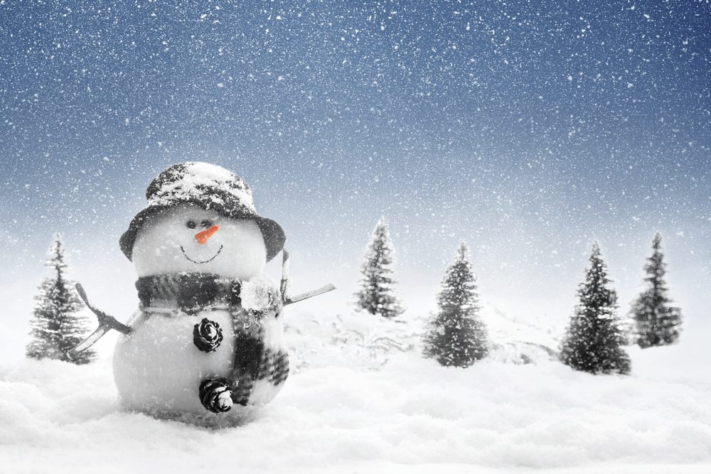 Snowman in winter scene -- Diabetes Winter Tips