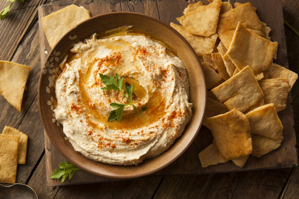 Hummus and pita chips -- Workout Nutrition