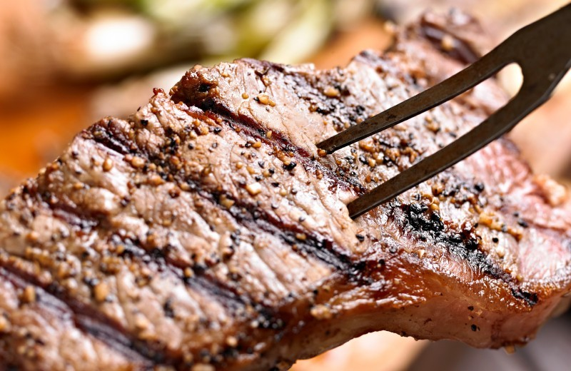 Grilled Steak with Roasted Garlic Paste