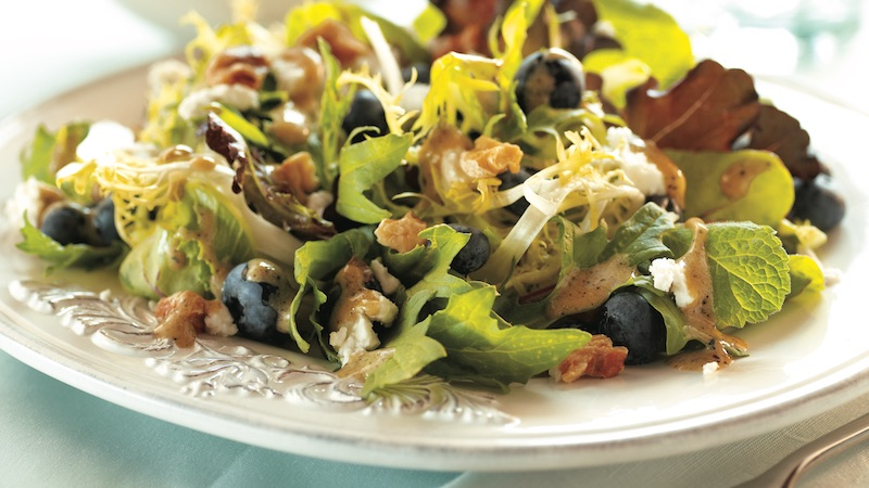 Spring Greens With Blueberries, Walnuts, and Feta Cheese