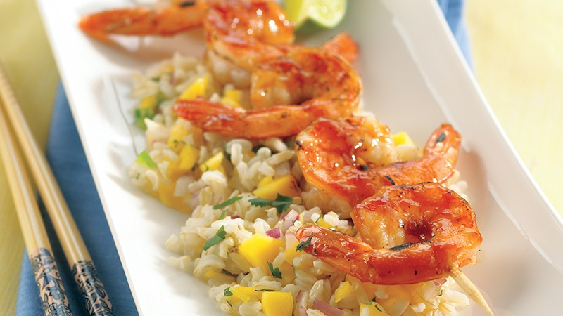 Barbecued Shrimp Over Tropical Rice